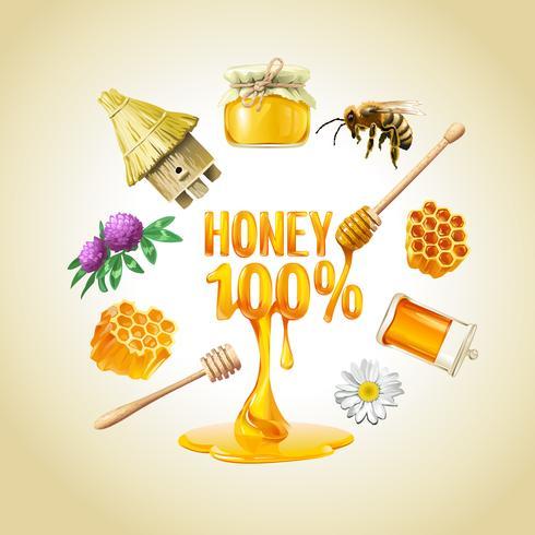 Conjunto de ícones de mel de vetor.