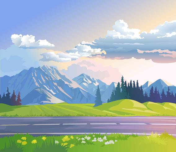 Vectorillustratie van een berglandschap