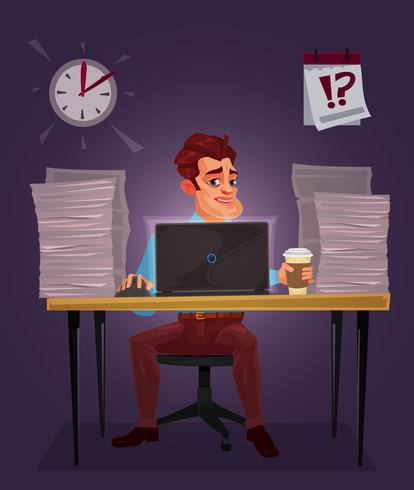 Illustration vectorielle d'un homme travaillant sur l'ordinateur portable