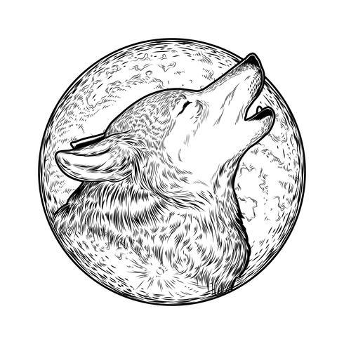 Ilustración vectorial de un lobo aullando
