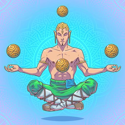 Hombre de yoga de vector en una posición de loto.