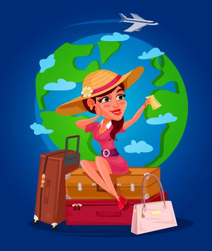 Vetorial, ilustração, de, um, menina jovem, -, a, viajante
