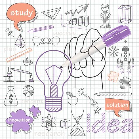 Insieme di doodle di vettore dell'idea di simbolo delle icone