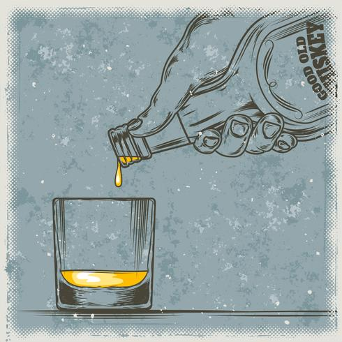 Vektor illustration av whisky och glas