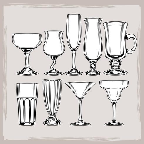 Conjunto de vectores de copas de cóctel vacías