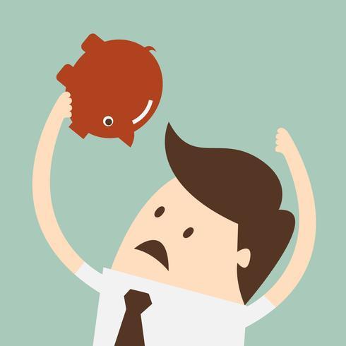 Salvadanaio. Illustrazione piana del fumetto di concetto di affari di progettazione.