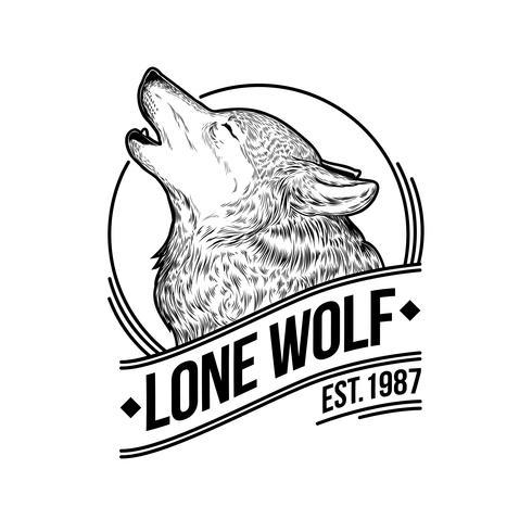 Vetorial, ilustração, de, um, lobo uivando