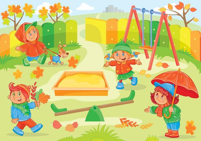 Illustration vectorielle de jeunes enfants jouant