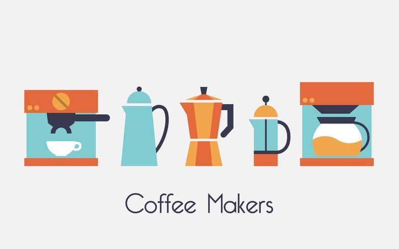 Illustrazione di vettore di macchine per il caffè