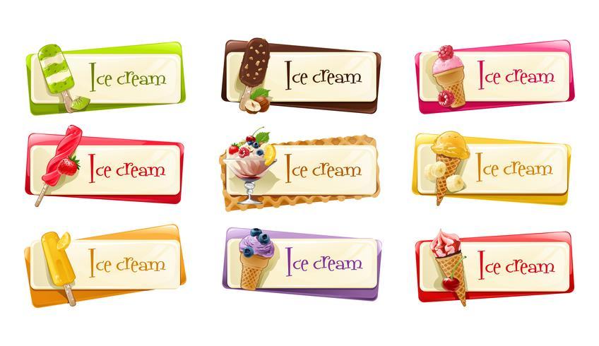 Vektorsatz Fahnen mit Eiscreme