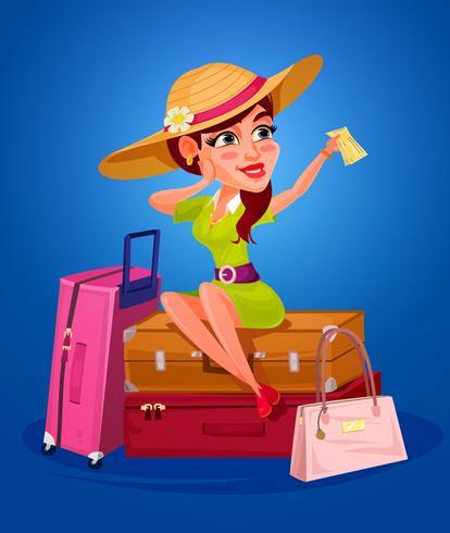 Illustrazione vettoriale di una giovane ragazza - il viaggiatore
