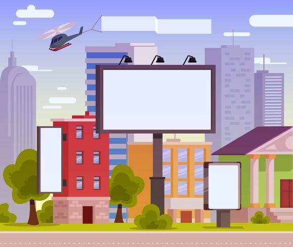 Vetorial, ilustração, de, um, anunciando, billboard