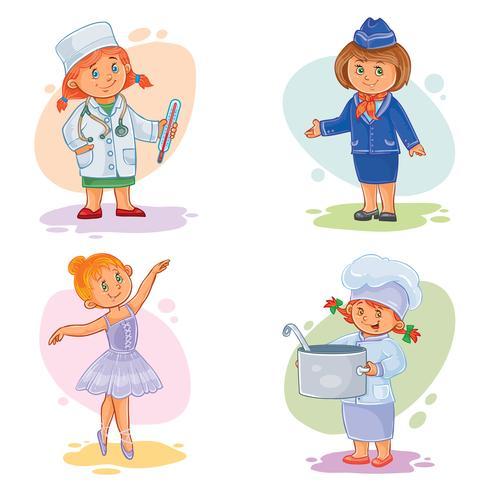 Metta le icone di vettore di piccole professioni dei bambini differenti