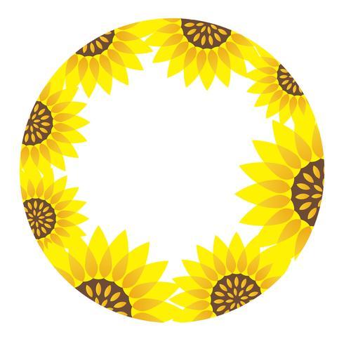 Quadro de girassol circular com espaço de texto. vetor