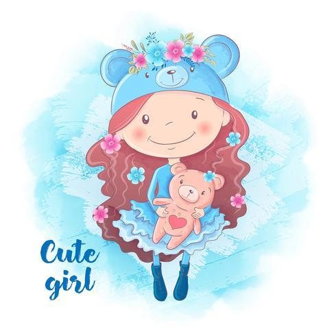 Cartone animato ragazza carina con orso illustrazione vettoriale