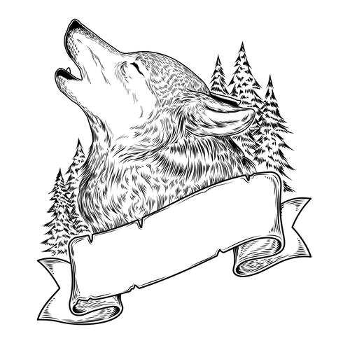 Vector illustration of a howling wolf with ribbon