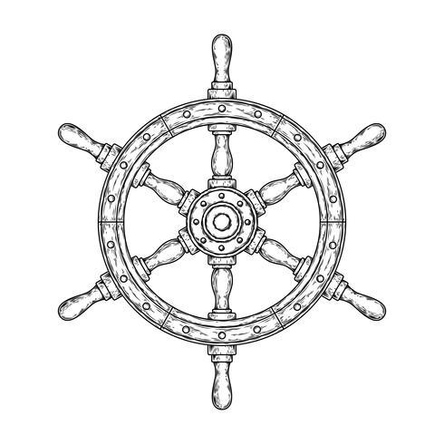 Illustrazione vettoriale di un vecchio volante in legno nautico