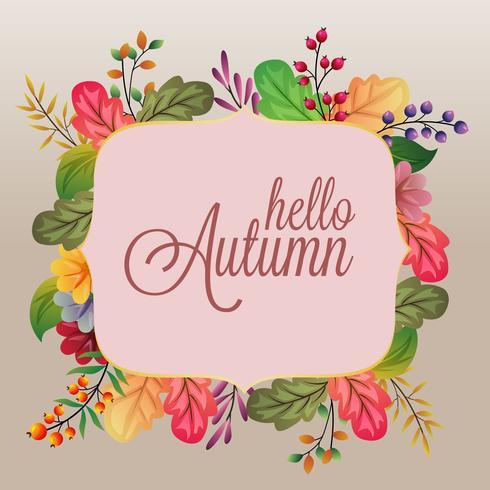 ciao autunno con diverse foglie colorate
