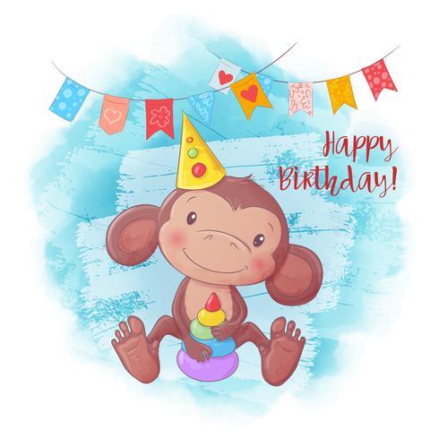 Cartoon cute monkey with a pyramid. Birthday card. Vector illustration