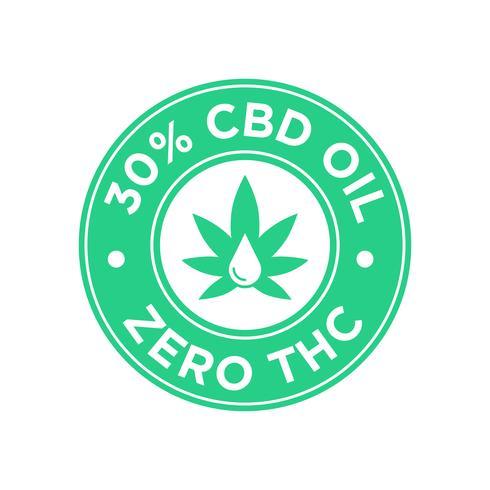 Ícone de 30 por cento de óleo CBD. Zero THC vetor