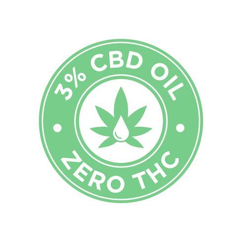 Icono de aceite del 3 por ciento de CBD. Cero THC.