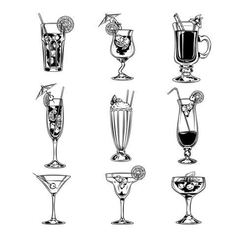 Insieme di vettore dei bicchieri da cocktail vuoti