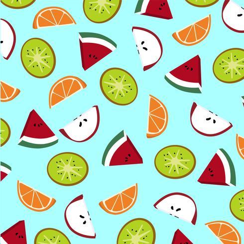 Patrón de rodajas de fruta. Kiwi, manzana, sandía y naranja.