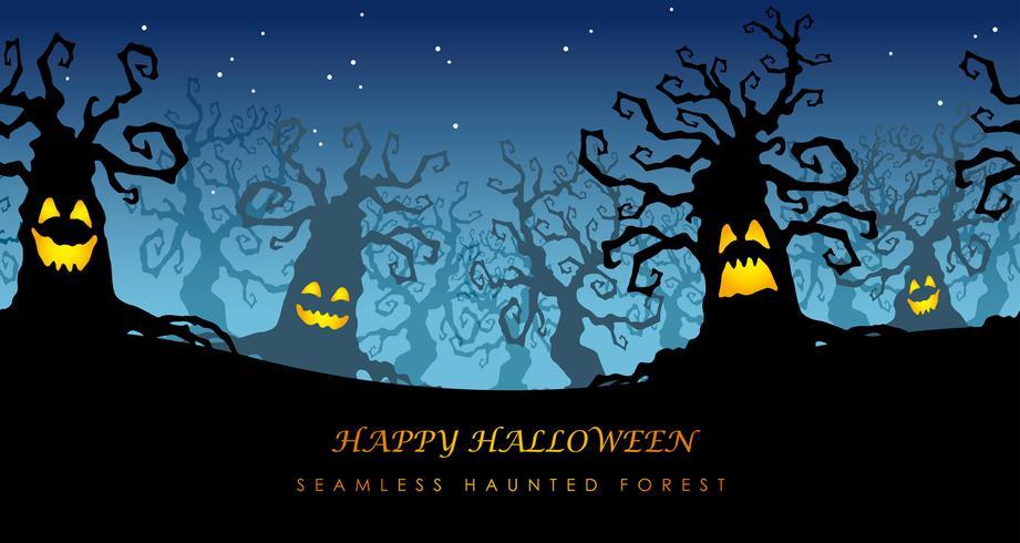 Illustrazione frequentata senza cuciture felice di vettore della foresta di Halloween con lo spazio del testo.