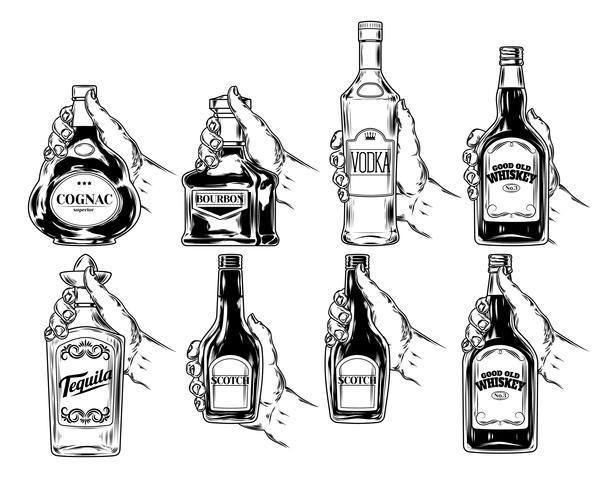 Vecteur série de bouteilles d'alcool