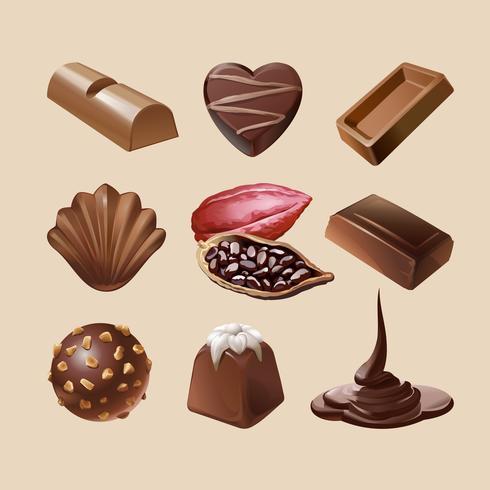 Stel vector iconen van chocolade