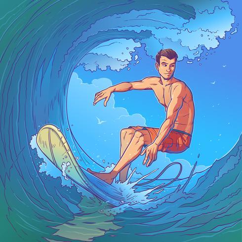Vectorillustratie van een surfer