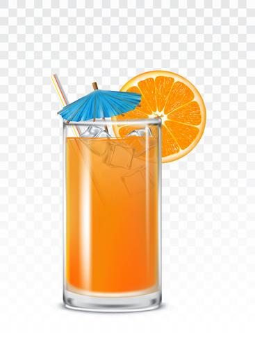 Glass beaker with orange juice, ice cubes and a straw
