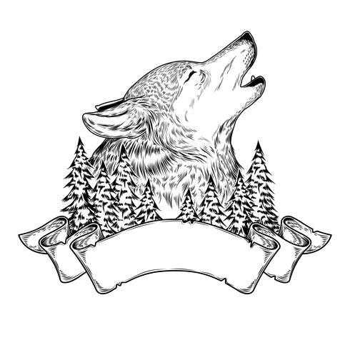Illustrazione vettoriale di un lupo che urla con il nastro