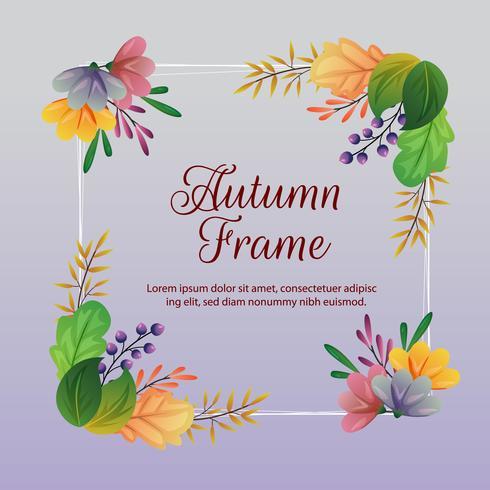 höstram och dekoration med färgade löv vektor