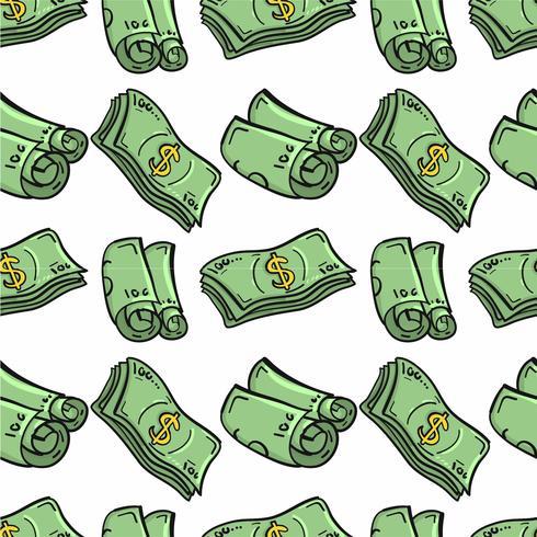 Padrão de dinheiro handdrawn vetor