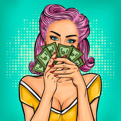 Vektor pop art tjej med kontanter