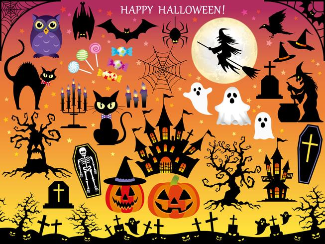 Insieme di elementi di design Happy Halloween assortiti.