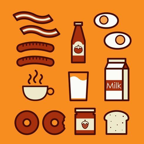 Ícones de café da manhã. Ilustração de doodle bonito dos desenhos animados. vetor