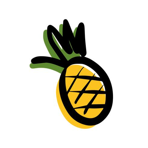 Ananas di vettore su priorità bassa bianca.