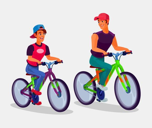 Dois, homens jovens, montando, bicicletas