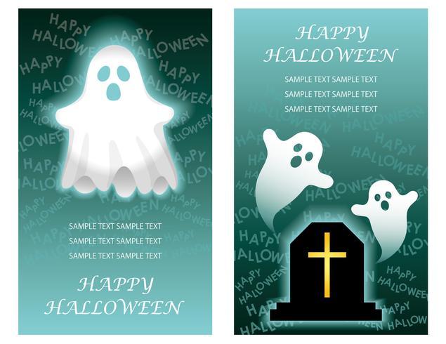 Conjunto de dos plantillas de tarjetas de felicitación feliz halloween con fantasmas.