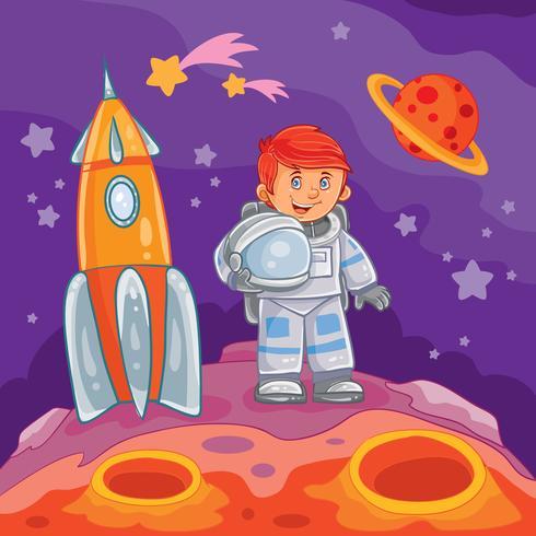Vector illustration of a little boy astronaut