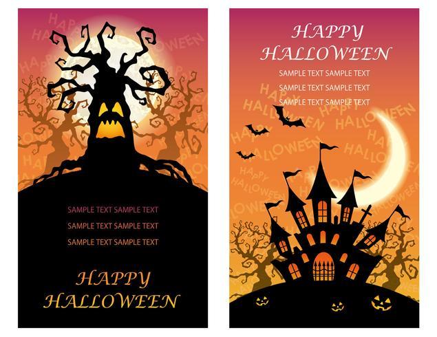 Satz von zwei glücklichen Halloween-Grußkartenschablonen mit frequentierten Bäumen und einer Villa.