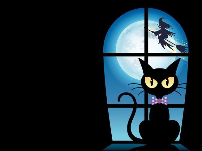 Glückliche Halloween-Grußkartenschablone mit einer schwarzen Katze am Fenster.
