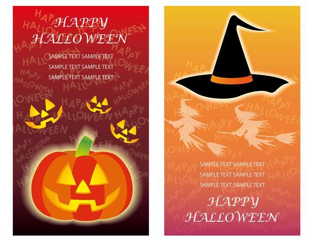 Set van twee Happy Halloween-wenskaartsjablonen met Jack-o'-Lantern en een heksenhoed.