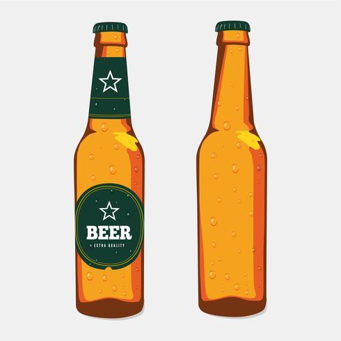 Garrafa de cerveja de vidro marrom com rótulo e sem rótulo vetor