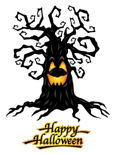 Albero infestato con logo Happy Halloween, illustrazioni vettoriali.