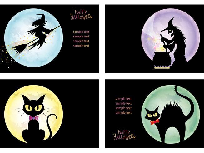 Set di quattro modelli di carta Happy Halloween con streghe e gatti neri.