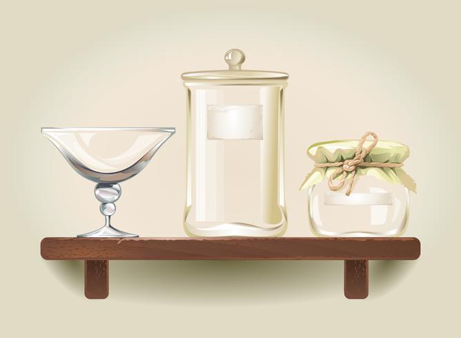 Illustrazione vettoriale di barattoli di vetro vuoti e una ciotola