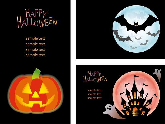 Conjunto de plantillas de tarjetas de Feliz Halloween con Jack-O'-Lantern, murciélagos y una casa encantada con fantasmas.